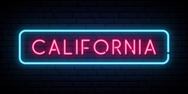 Californie enseigne au néon. Vecteur Premium