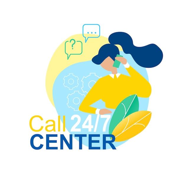 Call center 24/7 cartoon woman talk téléphone mobile Vecteur Premium
