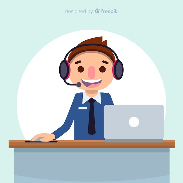 Call center background in flat design Vecteur gratuit
