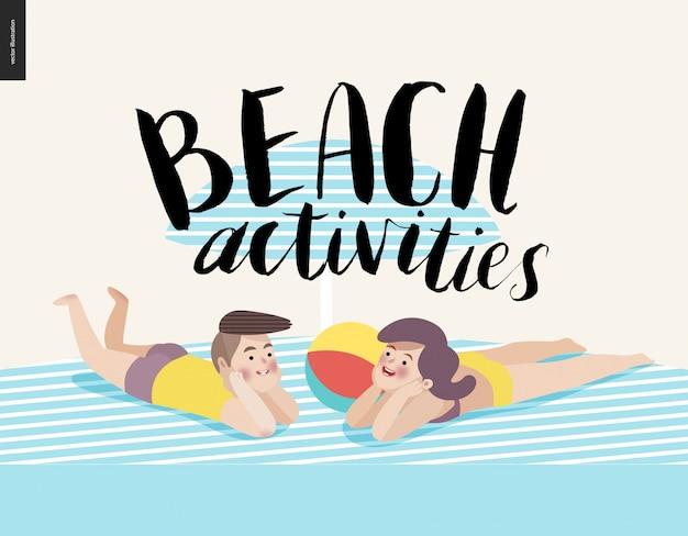 Calligraphie d'activités de plage avec un jeune couple prenant un bain de soleil Vecteur Premium