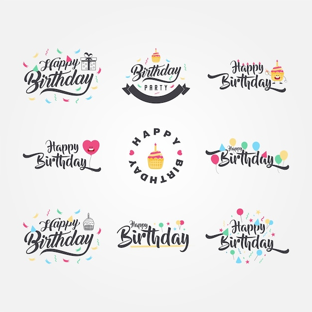 Calligraphie d'anniversaire mignon et drôle Vecteur Premium