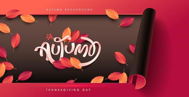 Calligraphie D'automne. Fond De Lettrage Saisonnier Vecteur Premium