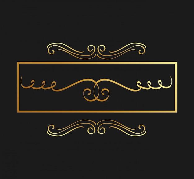 Calligraphie dorée s'épanouit élément de design ornement décoratif tourbillon Vecteur Premium