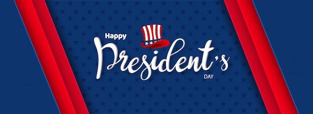 Calligraphie du jour du président heureux Vecteur Premium