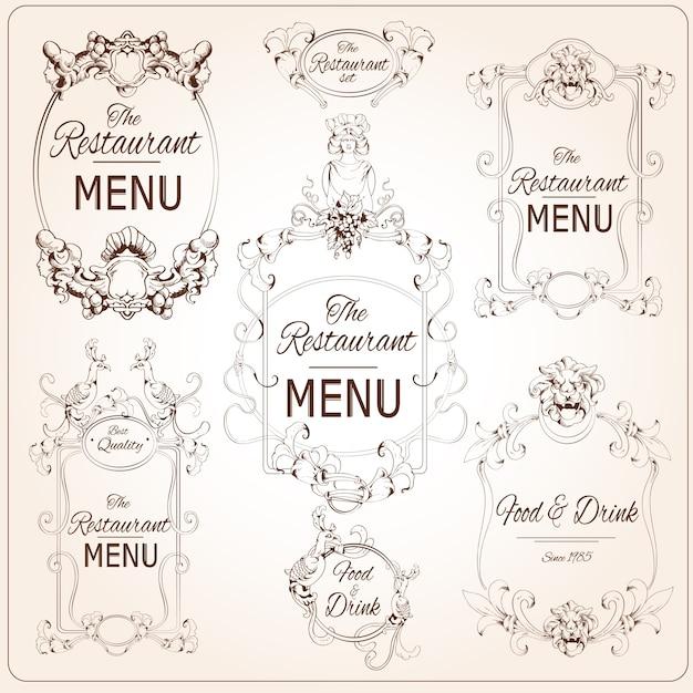 Bien connu Calligraphie florale élégante rétro style restaurant menu  BP75