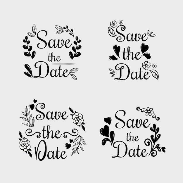 Calligraphie florale avec enregistrer le texte de mariage date Vecteur gratuit