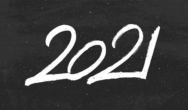 Calligraphie Pour 2021 à La Main Vecteur Premium