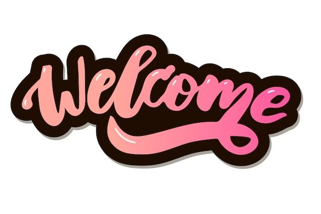 Calligraphie de texte de bienvenue Vecteur Premium