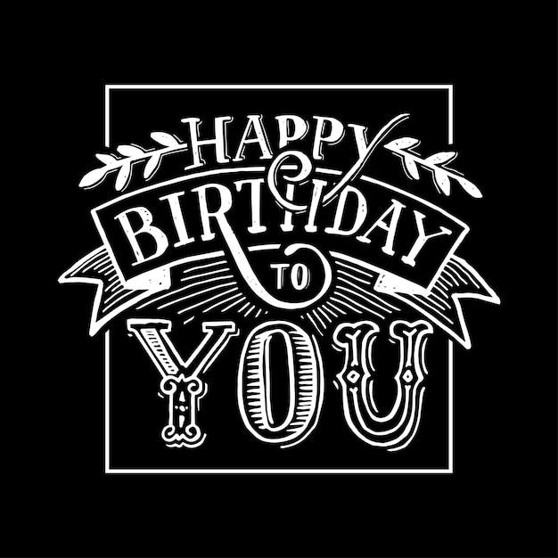 Calligraphie de texte joyeux anniversaire noir blanc Vecteur Premium