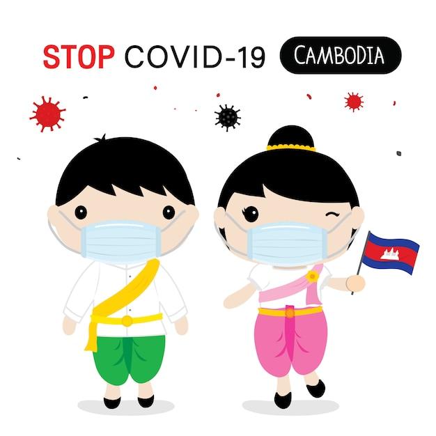 Les Cambodgiens Doivent Porter Une Tenue Nationale Et Un Masque Pour Protéger Et Arrêter Covid-19. Caricature De Coronavirus Pour Infographie. Vecteur Premium