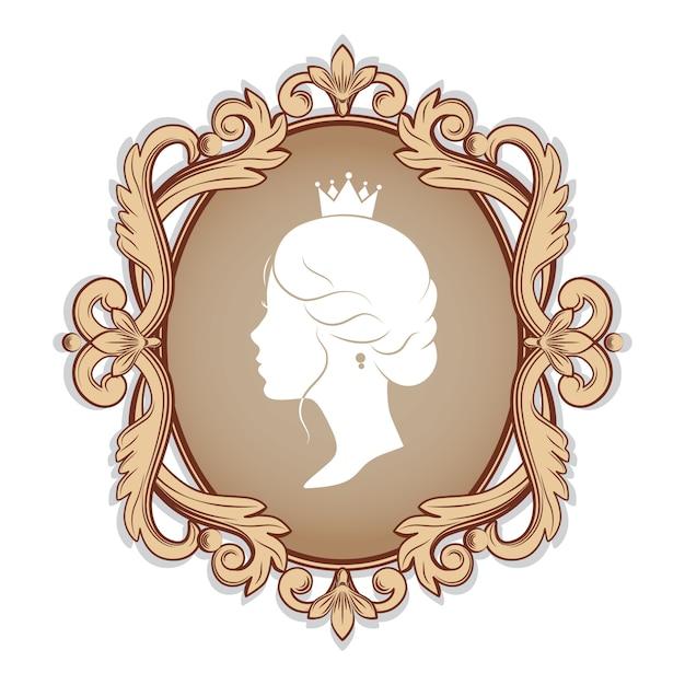 Camée élégance Avec Silhouette De Profil D'une Princesse Dans Un Cadre. Isolé Vecteur Premium
