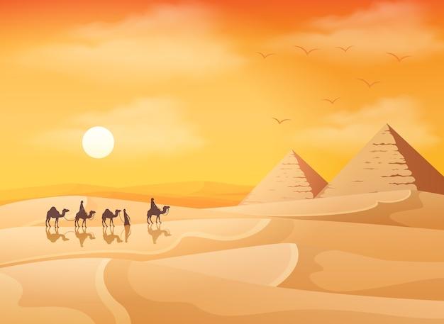 Camel caravane avec fond de paysage des pyramides d'egypte Vecteur Premium