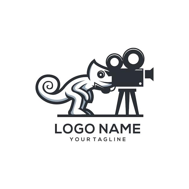 Caméléon film logo Vecteur Premium