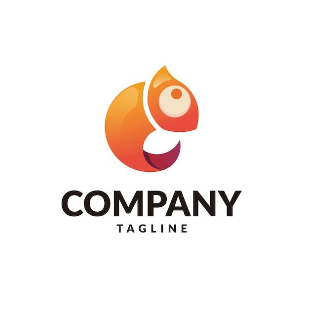 Caméléon logo Vecteur Premium
