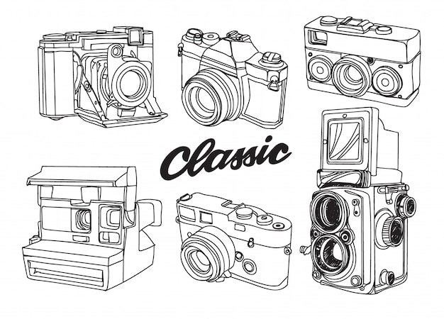 Caméra classique Vecteur Premium