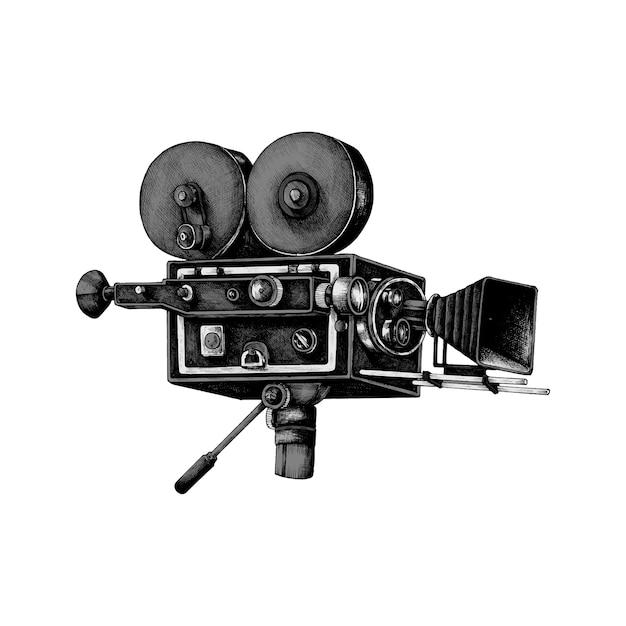 Caméra rétro dessinée à la main Vecteur gratuit