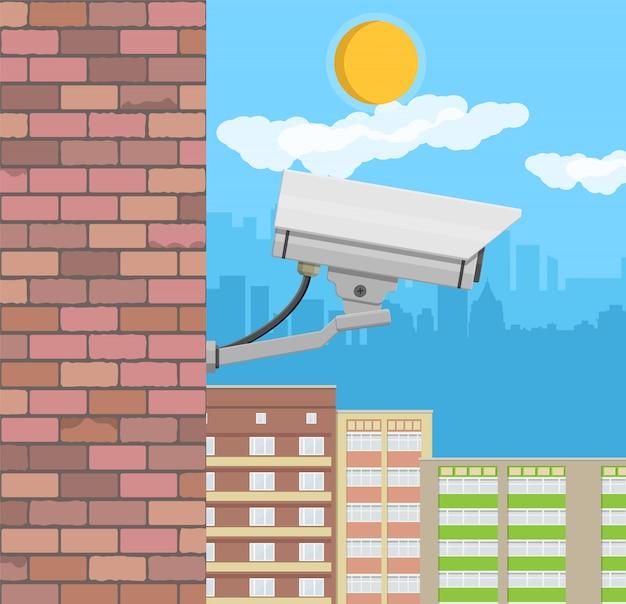 Caméra De Sécurité Sur Le Mur. Caméra De Surveillance à Distance Vecteur Premium