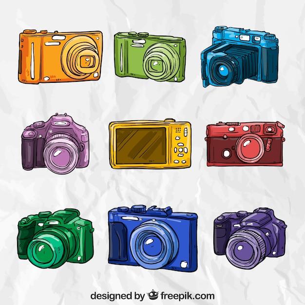 Caméras dessinés à la main colorés Vecteur gratuit