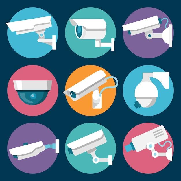 Des Caméras De Sécurité Vecteur gratuit