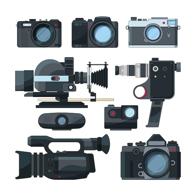 Caméras vidéo numériques et différents équipements professionnels Vecteur Premium