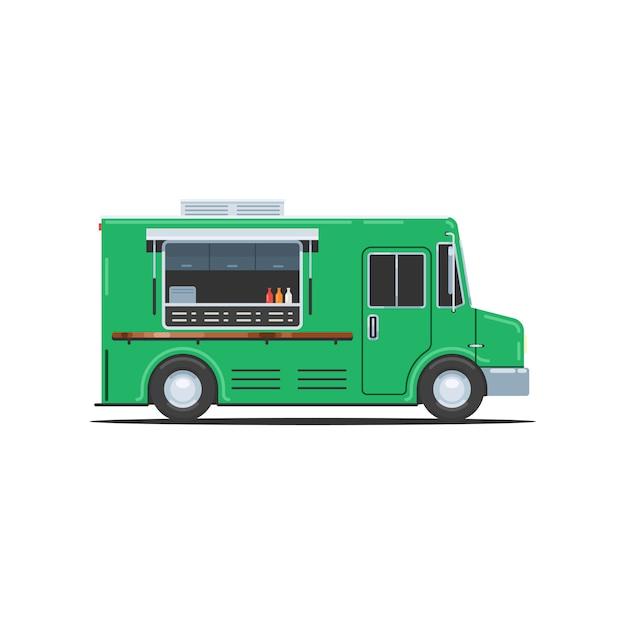 Camion alimentaire vert Vecteur Premium