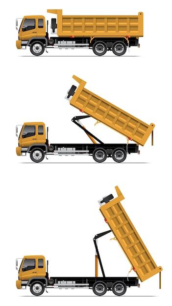 Camion à benne basculante en action Vecteur Premium