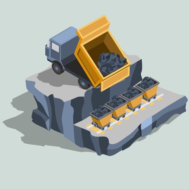 Camion à benne basculante embarque le charbon dans des charrettes à charbon vecteur isométrique Vecteur gratuit