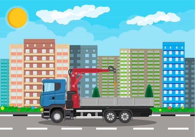 Camion Avec Grue Et Plate-forme, Paysage Urbain Vecteur Premium