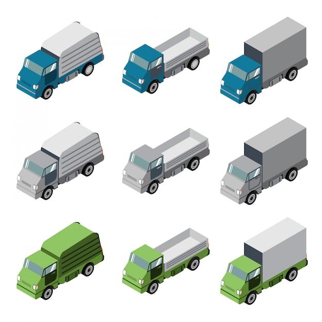 Camion isométrique voiture véhicule Vecteur Premium