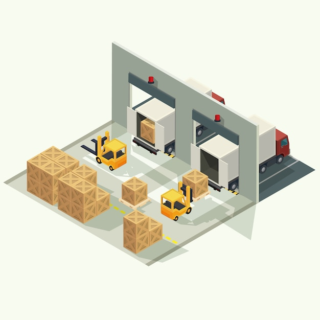 Camion de logistique de fret et conteneur de transport avec chariot élévateur soulevant le conteneur de fret dans le chantier d'expédition. illustration vectorielle isométrique Vecteur Premium