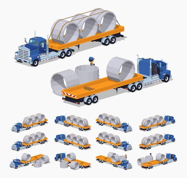Camion lourd isométrique 3d lowpoly et remorque avec anneaux en béton Vecteur Premium
