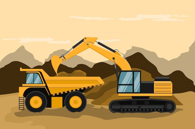 Camion minier et pelle rétrocaveuse effectuant des travaux de construction et d'exploitation minière Vecteur Premium
