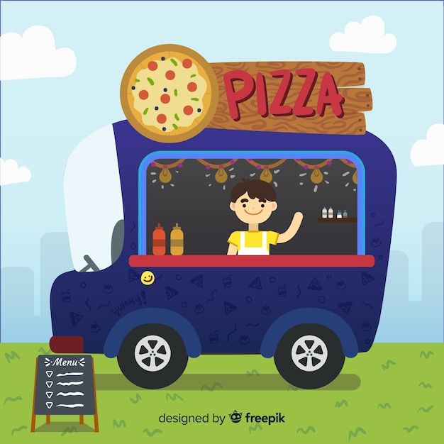 Camion de pizza Vecteur gratuit