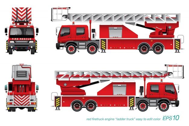 Camion de pompier avec échelle Vecteur Premium