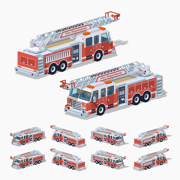 Camion de pompier isométrique 3d lowpoly Vecteur Premium