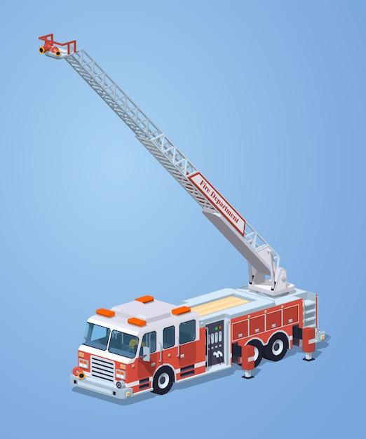 Camion de pompier low poly Vecteur Premium