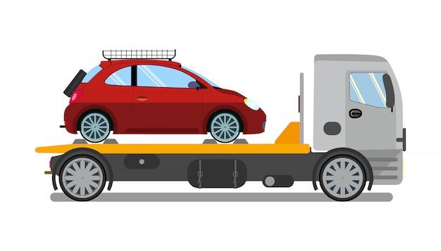 Camion de remorquage, camion au travail Vecteur Premium