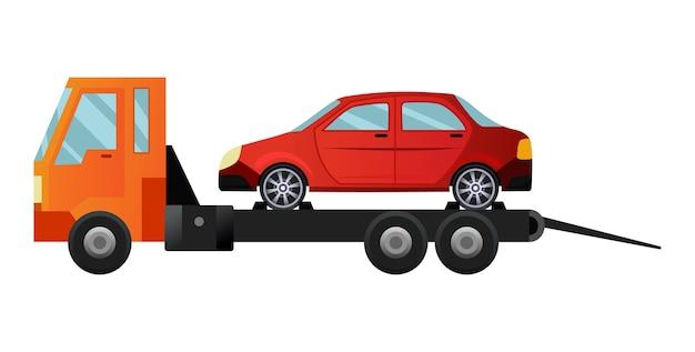 Camion De Remorquage Plat Cool Avec Voiture Cassée Vecteur Premium