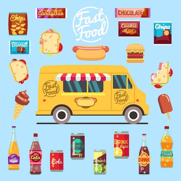 Camion de restauration avec gros repas d'été, collations de restauration rapide, boissons en bouteille et crème glacée. Vecteur Premium