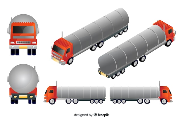 Camion rouge isométrique dans différentes vues Vecteur gratuit