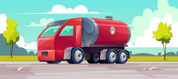Un camion rouge livre de l'huile inflammable dans un réservoir Vecteur gratuit