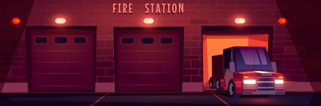 Camion De Sauvetage D'urgence Rouge Conduit De La Caserne De Pompiers La Nuit. Vecteur gratuit
