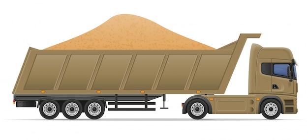 Camion semi remorque livraison et transport d'illustration vectorielle de matériaux de construction concept Vecteur Premium
