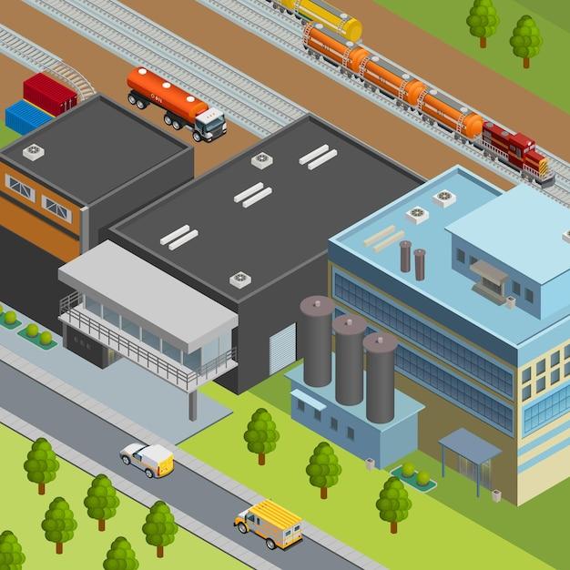 Camion Et Train Pour Le Transport De Pétrole Près De La Raffinerie 3d Isométrique Vecteur gratuit