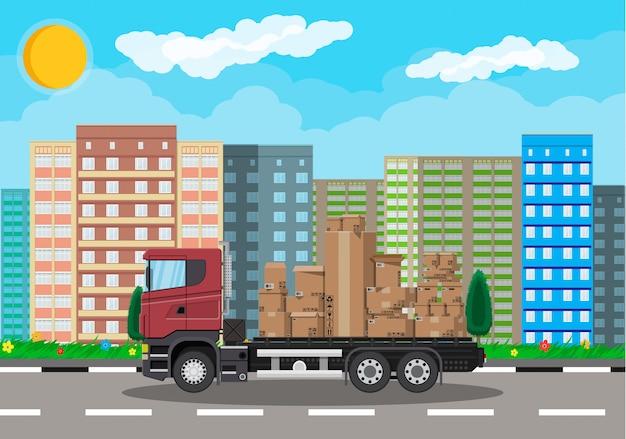 Camion Transportant Un Paquet De Carton Brun Vecteur Premium