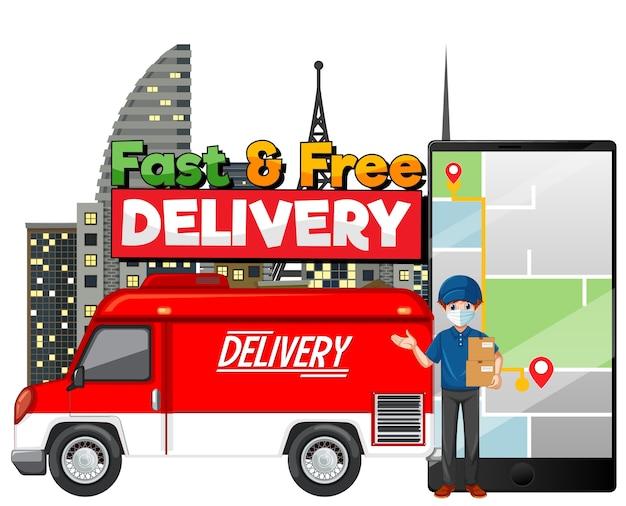 Camionnette De Livraison Rapide Et Gratuite Avec Livreur Vecteur gratuit