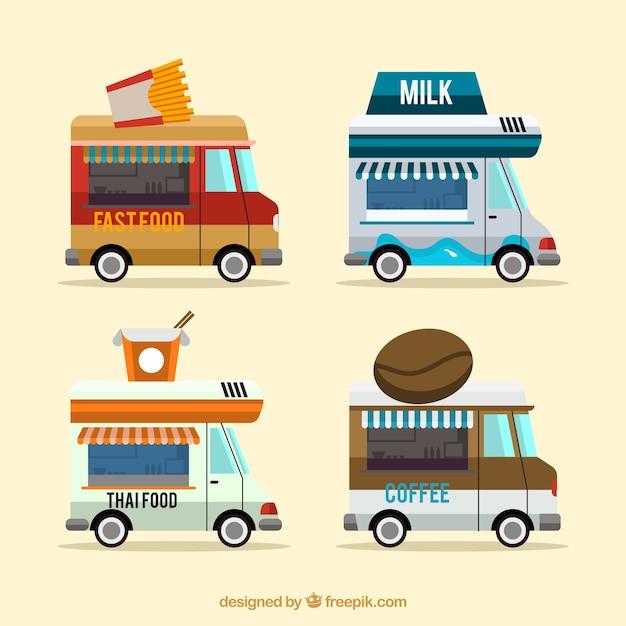Camions de cuisine modernes avec style amusant Vecteur gratuit