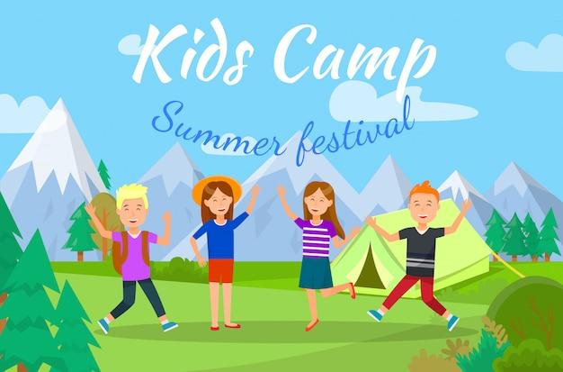 Camp d'enfants Vecteur Premium