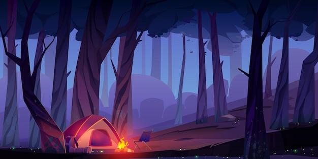 Camp D'été Avec Feu De Joie Et Tente La Nuit Vecteur gratuit