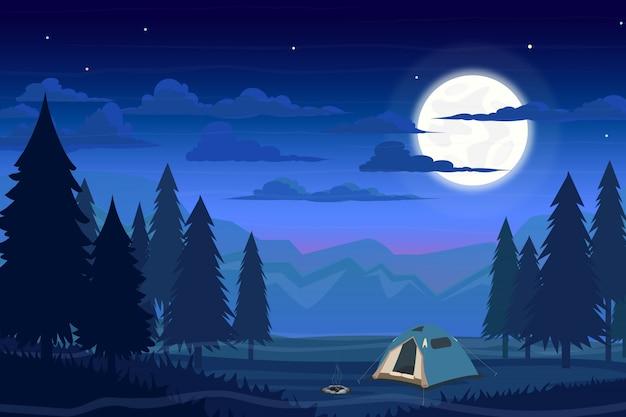 Camp D'été En Forêt Avec Tente, Feu De Camp Et Lune Vecteur Premium